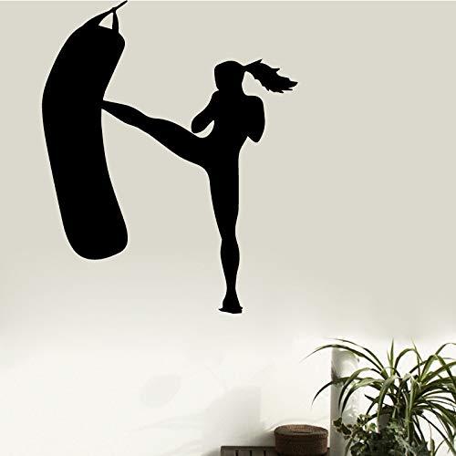 tzxdbh Gym Athletic Afneembare muurstickers Vrouwen Fitness Sport Vinyl sticker Home muurkunst Decor ideeën afneembare binnenruimte 43 * 52 cm