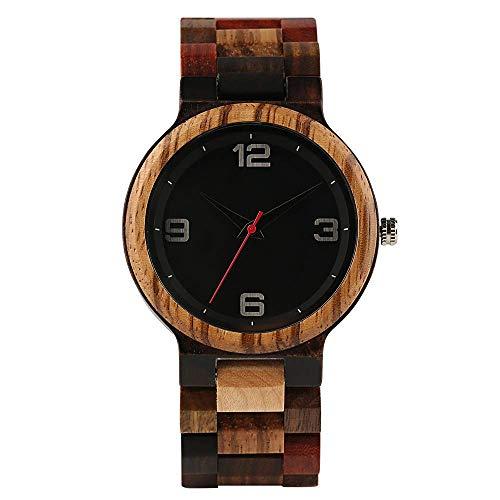 Leyue Reloj de Madera, bambú Simple, Ocio, romántico, Saludable, Respetuoso con el Medio Ambiente Relojes para Hombre Círculo Rojo Cara Negra Negro
