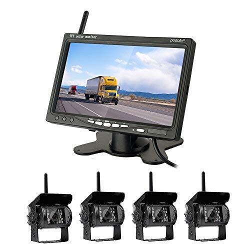 """Rückfahrkamera-Set mit 7\""""-LCD-Monitor & 120° Weitwinkel- Rückfahrkamera, IP67 wasserdicht, 18IR Nachtsicht, kabellose Rückfahrkameras für LKW/Anhänger/Bus/Van/Landwirtschaft(12-24 Volt)"""