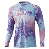 HUK Men's Pattern Pursuit Long Sleeve Performance Fishing Shirt, Lavender Blue, Large