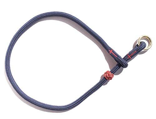 DOGS and MORE - Hochwertiges MeRuBu Seil-Halsband mit Messingring in Rot, Marine, Grün, Schwarz, Orange, Blau oder Lila (8 mm) (40 cm Halsumfang, Marine)