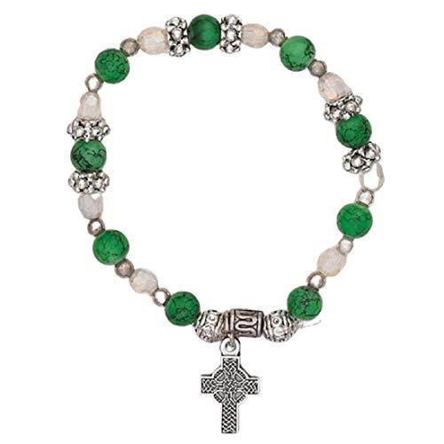 Hail Mary Gifts Religious & Catholic, 4pc 6mm Irish Charm Bracelet- Celtic Cross Charm - Pack of 4