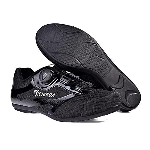BSTL Zapatos de Ciclismo Al Aire Libre, Hebilla Giratoria Masculina, Zapatos Unisex Sin Bloqueo, Zapatos de Bicicleta para Parejas, Zapatos de Carretera de Nivel de Entrada,Black-38