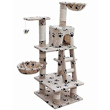 vidaXL Cat Tree 48  Beige w/Paw Prints Plush Scratch Post Furniture Play House Kitty