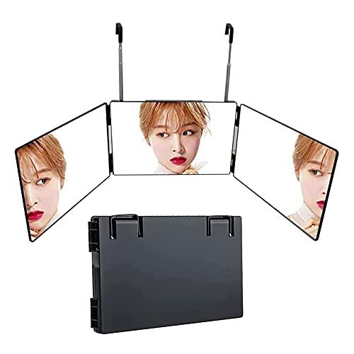 Yokbeer Miroir 360 a LED sans Fil et Tactile, Pliable et Accrochable a Porte ou Armoire a L'aide de Crochets Rétractable