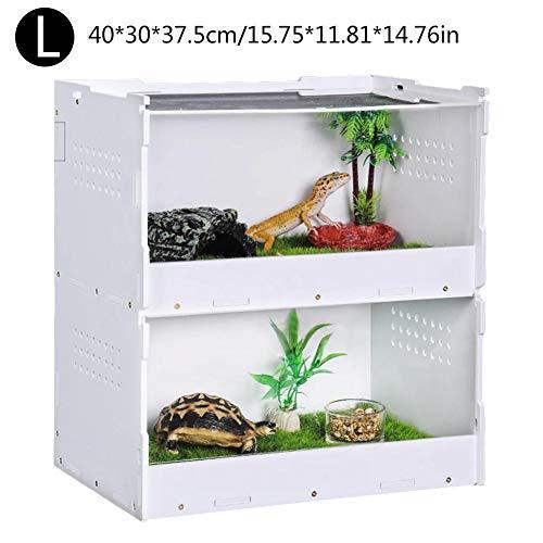 Luckyx Klare Reptilienzuchtbox, Acryl-Terrarium Volle Sicht Fütterungsbox Doppelschicht-Fütterungsbox Tragbare Tierhäuser Für Spide, Eidechse, Tausendfüßler, Käfer