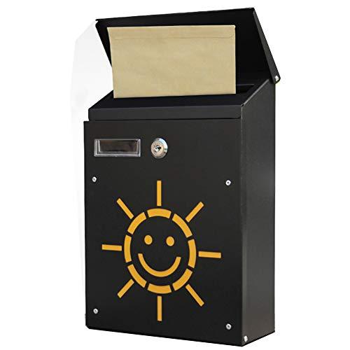 Iyom Wall Mounted Post Box Outdoor brievenbus Afsluitbaar Weerbestendig buiten Postbox Kranten doos met slot, Pastorale Amerikaanse brievenbus Decoratie Brievenbus Box