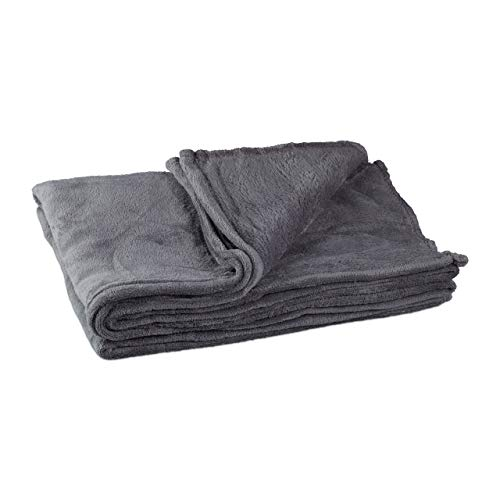 Relaxdays Kuscheldecke, groß, Fleece, bei 30°C waschbar, trocknergeeignet, HBT: 1 x 150 x 200 cm, grau