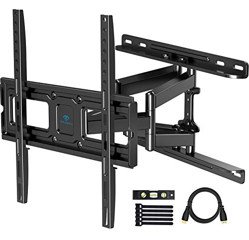PERLESMITH TV Wall Mount Full Motion for Most 32-55 Inch Flat Curved Screen TVs with Swivels Tilts Extension Dual Articulating Bracket Arms Supports TV up to 99 lbs Max VESA 400x400,PSMFK9