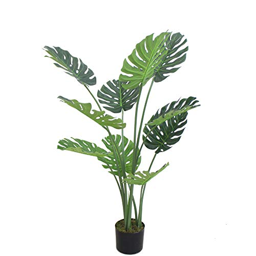 AMERIQUE Gorgeous 4 Feet Tropical Monstera Palm Artificial Plant Tree with Nursery Pot, Real Touch Technology, Green