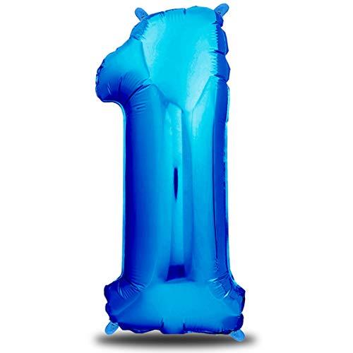 envami Ballon Anniversaire 1 an Bleu - 101 CM Ballon Chiffre - Deco Kit Anniviersaire Garçon - Happy Birthday Decoration - Ballon Joyeux Anniversaire - Vole Grâce à l'Hèlium