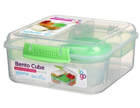 Sistema 5-Fach unterteilte XL Lunchbox BENTO Cube - 1250 ml Vesperdose inklusive...