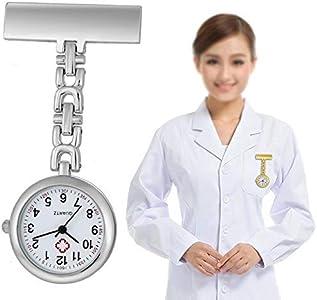 HCFSUK Reloj de Bolsillo para Enfermera Reloj de Enfermera Colgante con Clip Reloj de Bolsillo portátil para Doctor Reloj de Bolsillo Movimiento de Cuarzo Reloj de Bolsillo Vintage