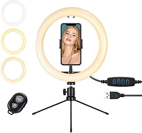 BrizLabs Anillo de Luz LED 10' Aro de Luz Selfie Trípode con Soporte para Móvil 3 Modos 11 Niveles de Luz Regulable para Transmisión en Vivo TikTok Youtube Fotografía Maquillaje con iOS Android