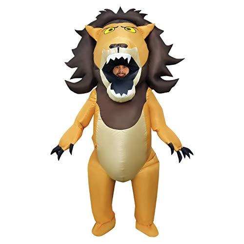 Morph Aufblasbares Löwen Kostüm für Erwachsene, lustiges Tierkostüm Herren Damen, Halloween Karneval