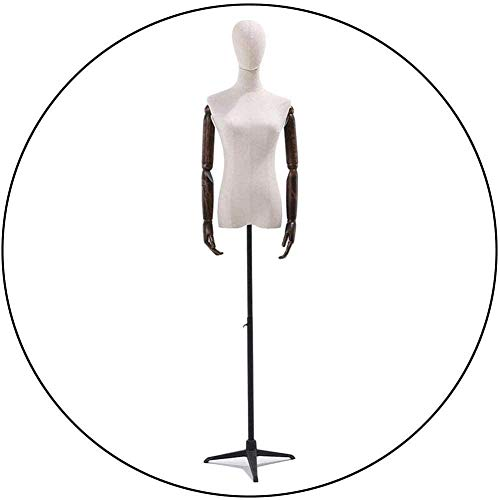 JinSui Mujer Maniqui Regulable Costura Maniqui Maniquí Femenino Cuerpo Torso Vestido Forma sastres maniquí paño Blanco Cabeza trípode Soporte Desmontable Altura Maniquí