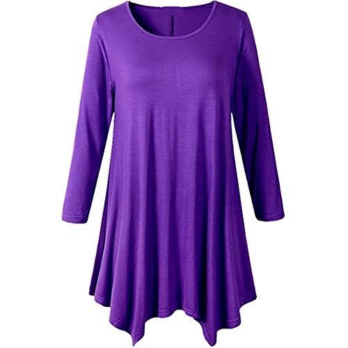 Zytyeu Women T Shirt Women Blouse Casual and Comfortable Soft Cotton Blend Size Round Neck Solid Color Simple Women Tops Long Sleeve Irregular Hem Women T-Shirts Purple. M