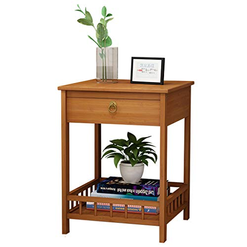 LXYStands bloementrap, bijzettafel, nachtkastje, salontafel, bloemenkruk, 2/3 niveaus, bamboe, tafeltjes met lade en plantenrekken