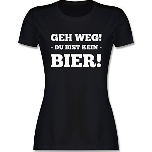 Sprüche - GEH Weg! Du bist kein Bier! - L - Schwarz - Fun - L191 - Tailliertes Tshirt für Damen und Frauen T-Shirt