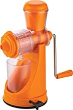 Wazdorf Hand Juicer for Fruits and Vegetables with Steel Handle Vacuum Locking System,Shake, Smoothies, Travel Juicer for Fruits and Vegetables,Fruit Juicer for All Fruits,Juice Maker Machine (Orange)