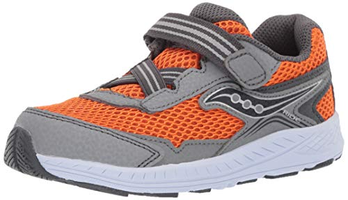 Saucony Boys' Ride 10 JR Sneaker, Grey/Orange, 040 Extra Wide US Toddler