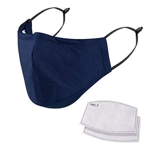 NUÜR Wiederverwendbare Gesichtsmaske in 5 Schichten, waschbar, langlebige Schutzmaske mit eingesetzter Nasenklammer, Schutzmaske für den täglichen Gebrauch, Blau
