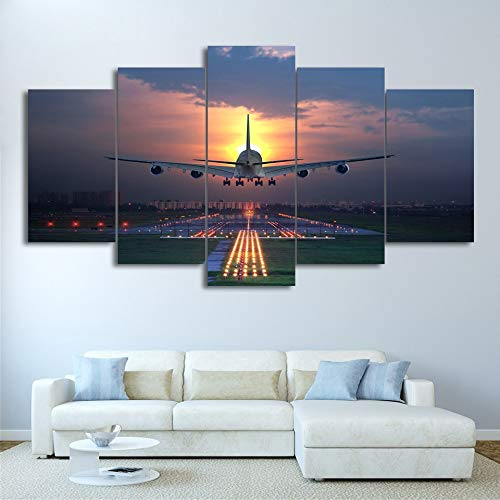 Wall Art Poster Home Decor Modern 5 Panel Sunset Lights vliegtuig Living Canvas HD Print Schilderij Modular Pictures Frameless Poster 40x60 40x80 40x100cm Geen frame