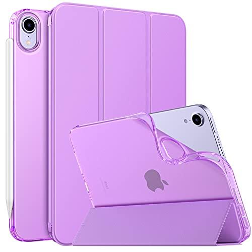 MoKo Hülle Kompatibel mit Neu iPad Mini 6 8,3 Zoll 2021(iPad Mini 6. Generation), PU Leder Tasche Schutzhülle mit Transluzent TPU Rücken Deckel Auto Schlaf/Wach Funktion, Violett