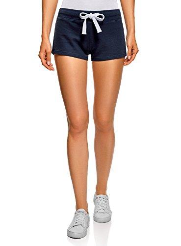 oodji Ultra Damen Baumwoll-Shorts (2er-Pack), Blau, M