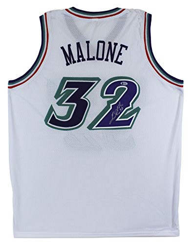 Karl Malone Autographed Signed Authentic White Pro Style Jersey Autographed Beckett Witnessed