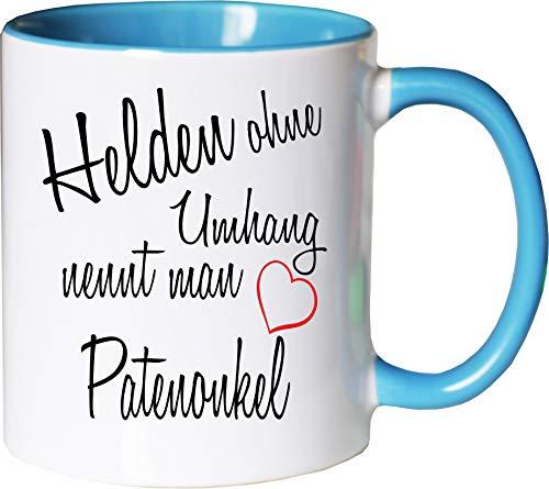 Mister Merchandise Kaffeebecher Tasse Helden ohne Umhang nennt Man Patenonkel Schwanger Baby Geburt Pate Bruder Freund Teetasse Becher Weiß-Hellblau