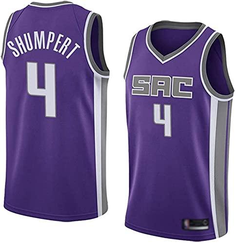 Ropa Jerseys de baloncesto de los hombres, Sacramento Reyes # 4 Iman Shumpert NBA Uniformes de baloncesto sin mangas Camisetas sin mangas Tops transpirables y de secado rápido, púrpura, S (165 ~ 170 c