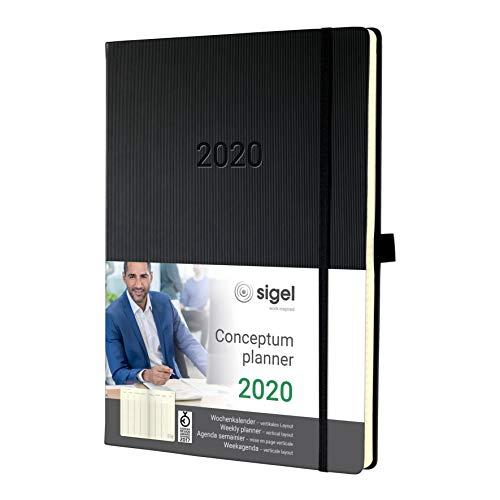 SIGEL C2018 Planungsbuch, Wochenkalender 2020, A4+, 1 Woche = 2 Seiten, 1 Spalte pro Tag, schwarz, Hardcover, Conceptum – weitere Modelle