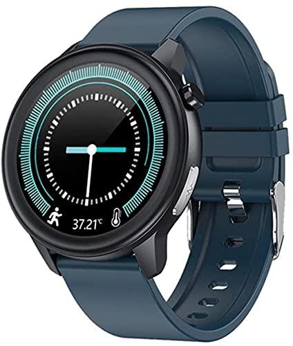 Pulsera inteligente reloj de negocios 1 3 pulgadas círculo completo táctil multi-deporte fitness tracker sueño temperatura corporal y otras funciones de monitoreo - azul