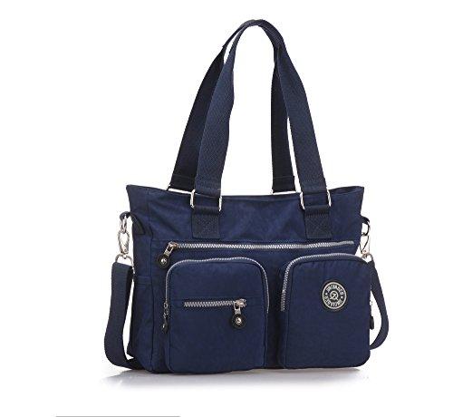 Bolso Hombro Mujeres, Popoti Bolso Bandolera Mochila Nylon Mano Bolsa de Mensajero Crossbody Bag para Diario Viaje Shopper(Azul-1)