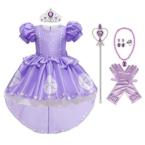 MYRISAM Costume da Principessa Sofia per Ragazza Carnevale Costumi Rapunzel Halloween Cosplay Natale Festa Cerimonia Compleanno Partito Nozze Battesimo Abiti con Accessori 2-3 anni
