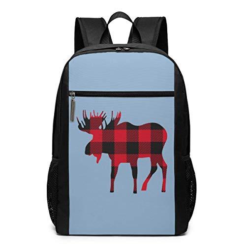 Buffalo Moose - Mochila Unisex Multiuso para el Hombro, Mochila Escolar, Casual, para portátil de 17 Pulgadas Alce a Cuadros de búfalo Buffalo Plaid Moose