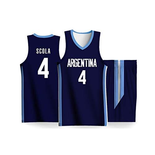 BALL-WHJ 2019 Copa Mundial De Baloncesto Argentina Equipo Competición # 4 Luis Scola Jersey Ropa De Baloncesto para Hombres Chaleco Sin Mangas Uniforme,2XL:180~185cm(70~80kg)