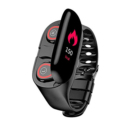 Indigi M1 Sport Earbuds & SmartWatch[Heart Rate, Blood Pressure, Pedometer] - Auto Pair - Universal Compatibility w/Magnetic Charging (Black)