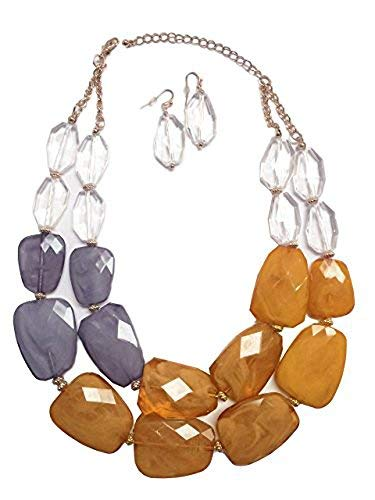Brown Tan Camel Lavender Gray Clear Colored Resin Big Chunky Statement Necklace