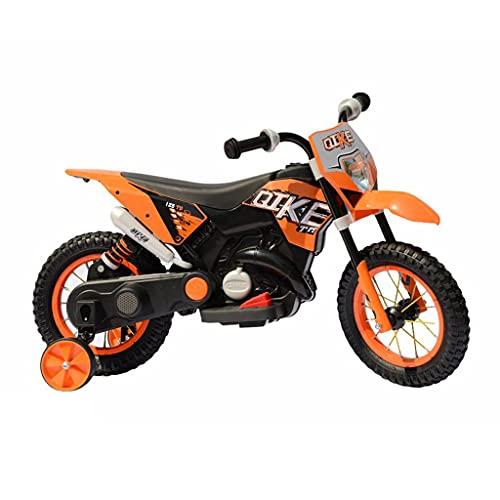 FP-TECH - MOTO ELETTRICA PER BAMBINI MOTOCICLETTA 2 POSTI CON USB MP3 LED SOSPENSIONI E RUOTE IN GOMMA AD ARIA (Arancione)