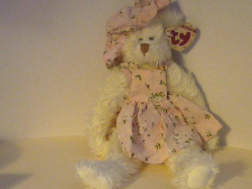 TY ATTIC TREASURE 1993 NOLA THE WHITE BEAR WITH DRESS & HAT, FULLY JOINTED by Attic Treasure