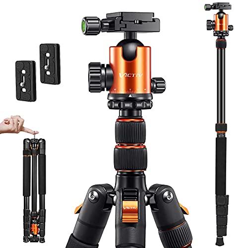 VICTIV Treppiede Fotocamera 206 cm, Treppiede da Viaggio Portatile in Alluminio, Testa a Sfera 360...