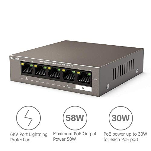 Tenda Poe Switch Ethernet 5-Port 10/100 Mbps, Switch Non Gestite, 4 Porte Poe, 63W, Nessuna Configurazione Necessaria (TEF1105P-4-63W)