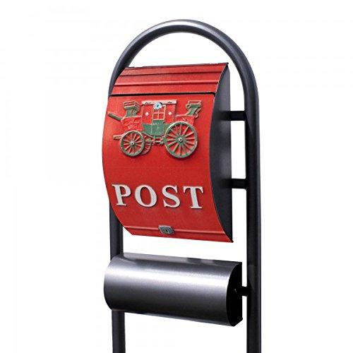 Banjado Briefkasten Hammerschlag-Optik mit Ständer | Postkasten freistehend 150x44x14cm | Standbriefkasten mit Zeitungsfach Motiv Postkasten Nostalgie