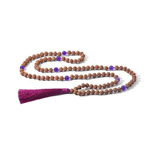K-ONE 108 Collar Anudado con Cuentas Marcador de Piedra Natural Yoga Meditación Japa Mala Joyería Saludable Borla Colgante-S-N0065C