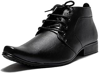 b167d0611 OORA Men's Faux Leather Black Color Ankle Length Shoes Office Wear Formal  Boots