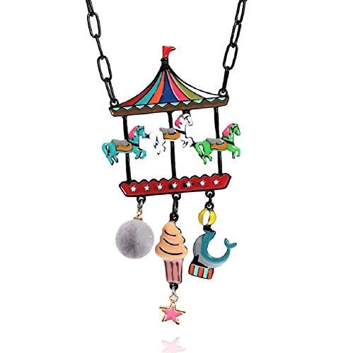 LOL Bijoux - Collana per festa del bosco, motivo: giostra dei cavalli, con gelato e cavalli multicolore