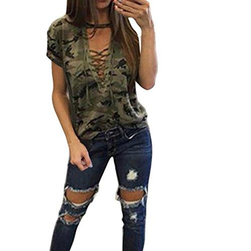 Bekleidung Longra Mode Damen Sommer Kurzarm Shirt schlanken lässige Bluse Camouflage Print Oberteile Tops T-Shirt (Asian M, Army Green)