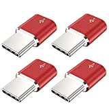 USB Type C Adapter,JXMOX (4-Pack) Micro USB Female to USB C Male Convert Connector Fast Charging Compatible with Samsung Galaxy S10 S9 S8 Plus,Note 9 8,LG V35 V30 G7,Nexus 6P 5X,Moto Z2 Z3(Red)